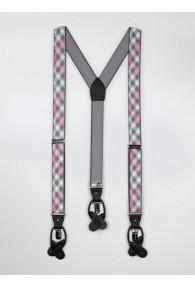 Hosenträger elastisch grau rosa kariert