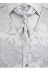Hochzeitsweste verspieltes Paisleymotiv Silber /