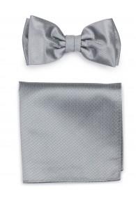Herrenfliege mit Einstecktuch Struktur grau