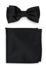 Set Schleife mit Einstecktuch strukturiert schwarz