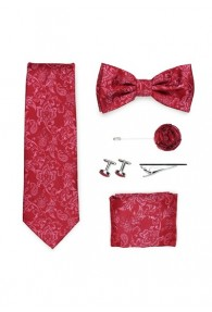 Geschenkbox Paisley-Motiv rot  mit Krawatte,