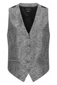 Elegante Damenweste Paisleymuster silber