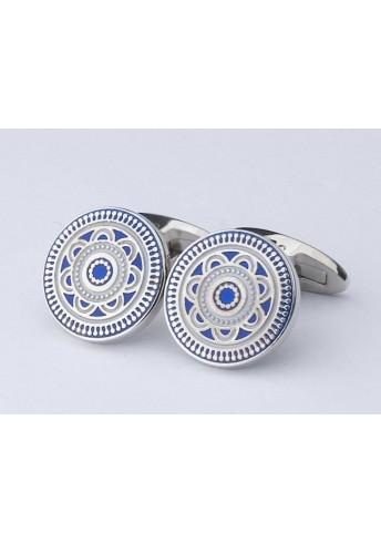 Hübsche runde Manschettenknöpfe silberfarben mit blauem Dekor