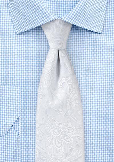 Krawatte kultiviertes Paisley-Muster weiß