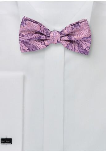 Seiden-Herren-Schleife Paisleymotiv rosé lila