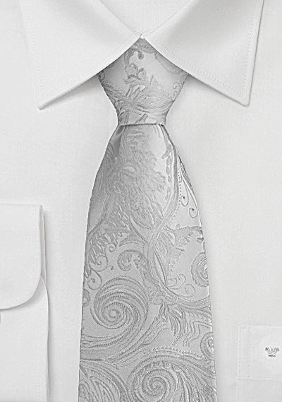 Krawatte kultiviertes Paisley perlmuttfarben