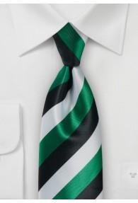 Krawatte Streifen grün perlweiß schwarz