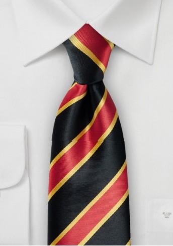 Businesskrawatte traditionelles Streifendesign mittelrot schwarz gelb