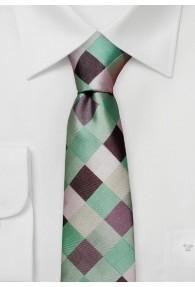 Herrenkrawatte schlank Kästchen-Muster mint