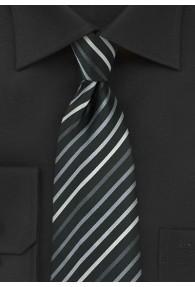 XXL-Krawatte Streifenstruktur schwarz silbergrau