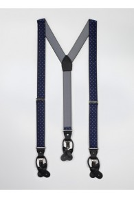 Hosenträger elastisch dunkelblau hellblau gepunkte