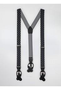 Hosenträger elastisch schwarz weiß gepunktet