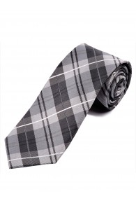 Krawatte Karo-Design silbergrau asphaltschwarz