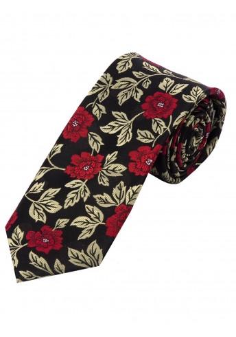 Krawatte Rosen-Motiv tintenschwarz  gold-hell mittelrot