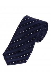 XXL-Krawatte Pünktchen Streifen dunkelblau