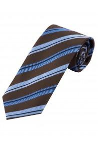 XXL-Krawatte Streifen eisblau schokoladenbraun
