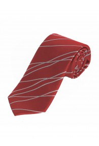 Extra schmale Businesskrawatte Wellen-Muster rot
