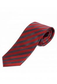Krawatte schmal Streifendessin mittelrot anthrazit