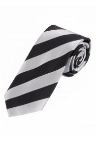 Krawatte Blockstreifen tintenschwarz perlweiß