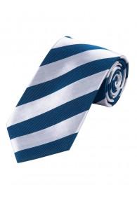 Krawatte Blockstreifen rauchblau weiß