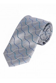Krawatte Wellen-Dessin silbergrau