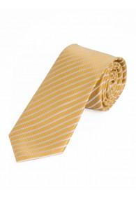 Krawatte dünne Streifen gelb perlweiß