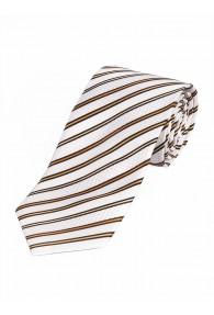 Krawatte dünne Streifen weiß gelb