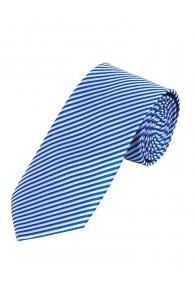 Herrenkrawatte dünne Streifen königsblau weiß
