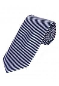 Krawatte dünne Streifen navyblau schneeweiß