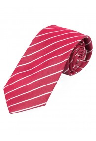 Krawatte dünne Streifen mittelrot schneeweiß
