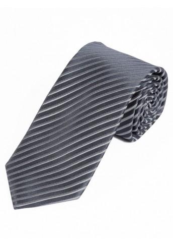 Schmale Herrenkrawatte dünne Streifen anthrazit silber