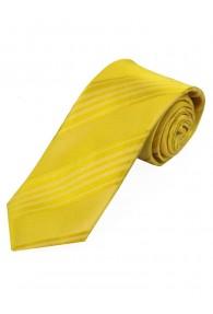 Schmale Krawatte einfarbig Streifen-Struktur gelb