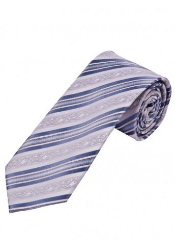 Krawatte florales Muster Streifen silbergrau und hellblau