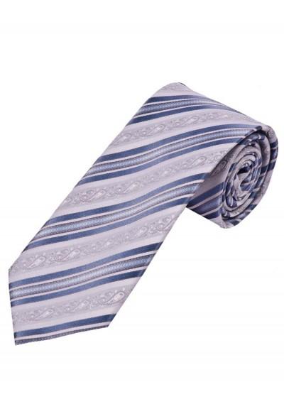 Krawatte florales Muster Streifen silbergrau und
