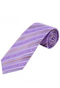 Krawatte florales Muster Streifen flieder und