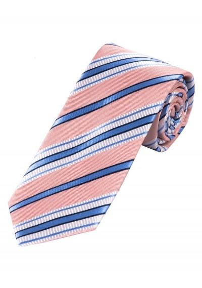 Stylische Krawatte gestreift rosé perlweiß