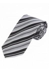 Modische Krawatte gestreift nachtschwarz perlweiß