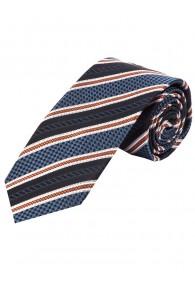Krawatte Struktur-Muster Streifen hellblau orange