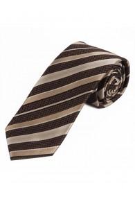 Schmale Krawatte Struktur-Dekor Streifen dunkelbraun champagner