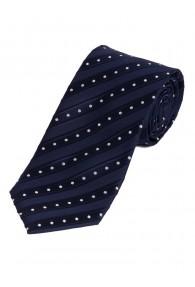 Schmale Krawatte Streifen Pünktchen navy