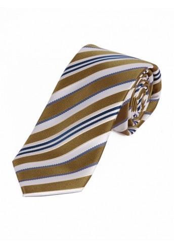 Schmale Businesskrawatte dezentes Streifen-Dessin sandfarben weiß und blau