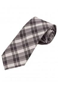 Überlange Karo-Muster-Krawatte schwarz hellgrau