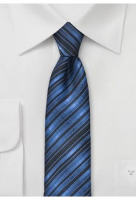 Schmale Krawatte Streifen azurblau