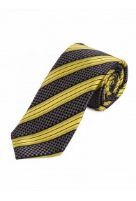 Sevenfold-Krawatte Streifendessin anthrazit gelb