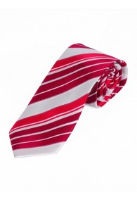 Sevenfold-Krawatte Streifendesign perlweiß rot