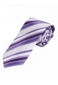Sevenfold-Krawatte Streifenmuster perlweiß violett