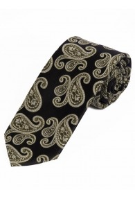 Sevenfold-Krawatte Paisley tiefschwarz