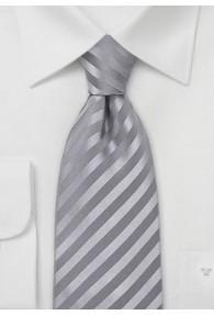 Krawatte einfarbig Streifen silber
