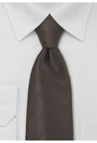 Krawatte dunkelbraun einfarbig Streifenmuster