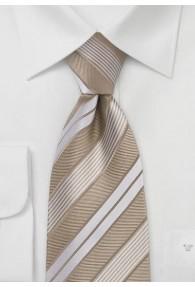Modisch gestreifte Krawatte in Beige und Perlweiß